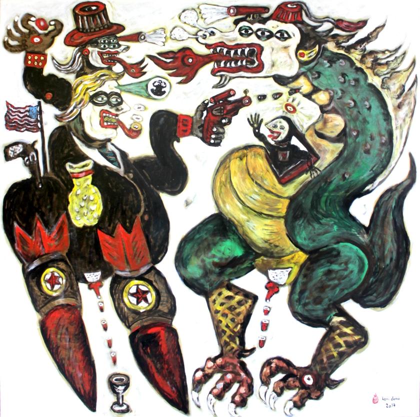 Trump vs the Dragon-acrylic on canvas-150x150 cm 2017