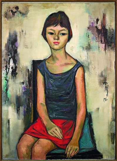 Young Woman in Red Dress《紅裙少女》by Shiy De-Jinn, Oil on canvas, 91 x 65 cm, 1960. Collection of National Taiwan Museum of Fine Arts. Courtesy the artist and Museum of Contemporary Art, Taipei.