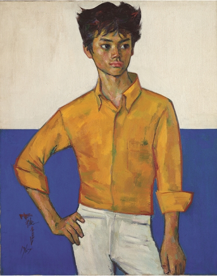 Young Man in Yellow Shirt《黃衣少年》by Shiy De-Jinn, Oil on canvas, 91.5 x 73 cm, 1967. Collection of National Taiwan Museum of Fine Arts. Courtesy the artist and Museum of Contemporary Art, Taipei.